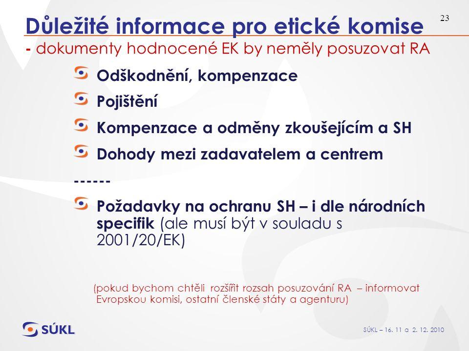 SÚKL – 16. 11 a 2. 12. 2010 23 Důležité informace pro etické komise - dokumenty hodnocené EK by neměly posuzovat RA Odškodnění, kompenzace Pojištění K