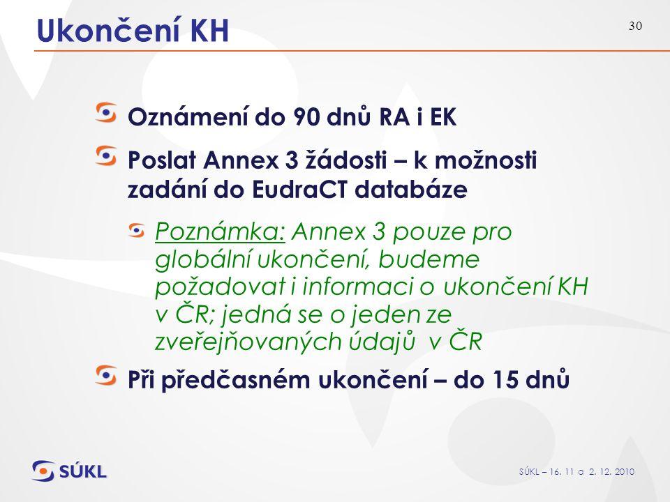 SÚKL – 16. 11 a 2. 12. 2010 30 Ukončení KH Oznámení do 90 dnů RA i EK Poslat Annex 3 žádosti – k možnosti zadání do EudraCT databáze Poznámka: Annex 3