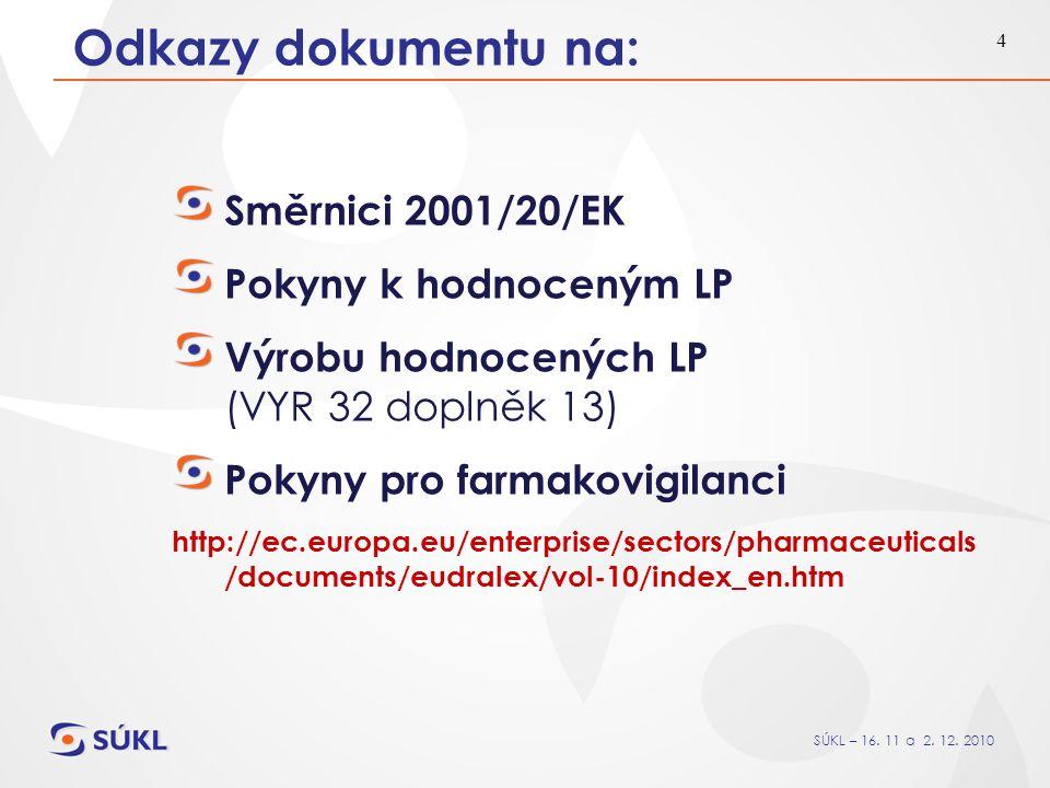 SÚKL – 16. 11 a 2. 12. 2010 4 Odkazy dokumentu na: Směrnici 2001/20/EK Pokyny k hodnoceným LP Výrobu hodnocených LP (VYR 32 doplněk 13) Pokyny pro far