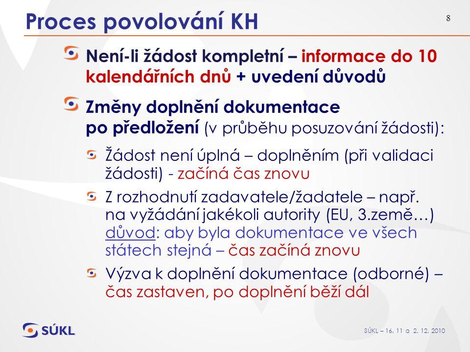 SÚKL – 16. 11 a 2. 12. 2010 8 Proces povolování KH Není-li žádost kompletní – informace do 10 kalendářních dnů + uvedení důvodů Změny doplnění dokumen