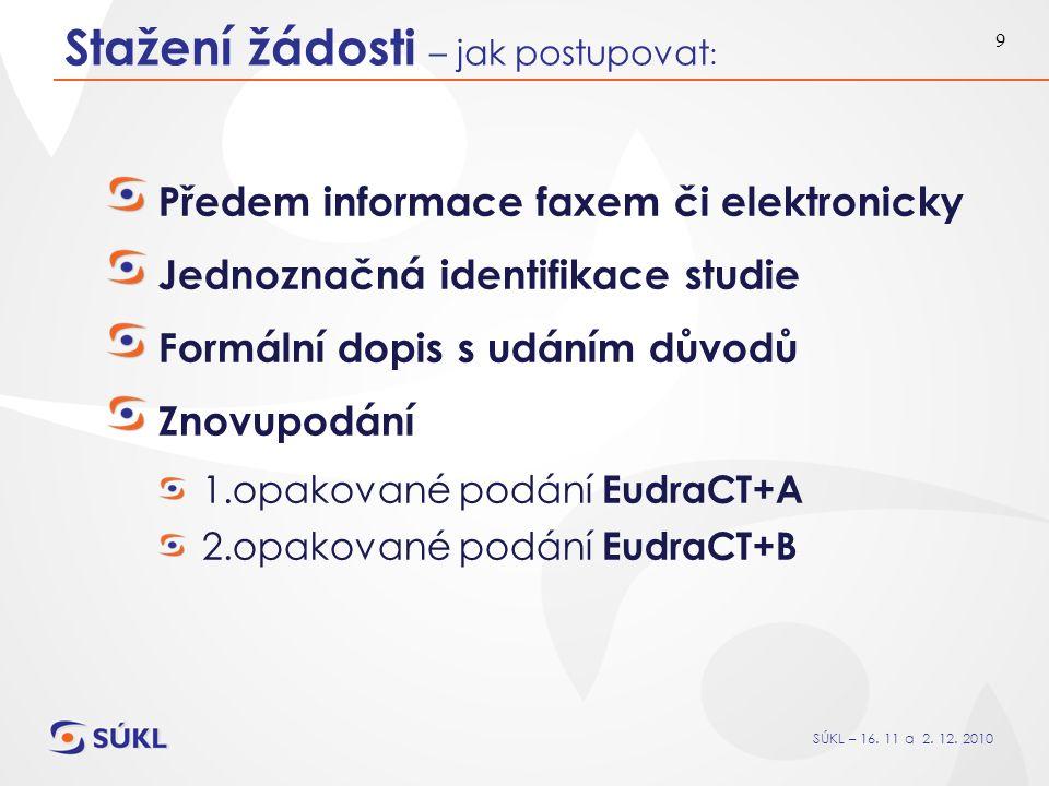 SÚKL – 16. 11 a 2. 12. 2010 9 Stažení žádosti – jak postupovat : Předem informace faxem či elektronicky Jednoznačná identifikace studie Formální dopis