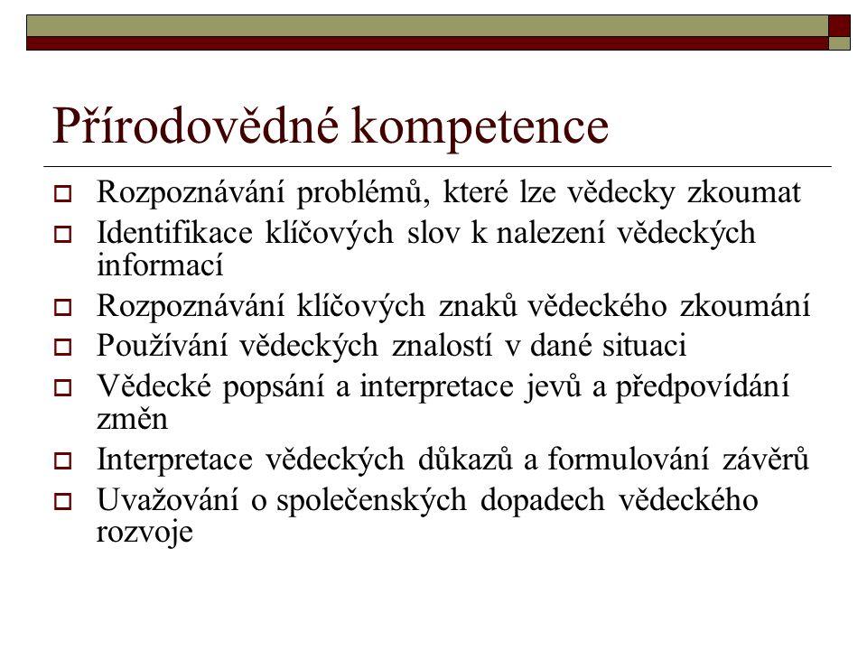 Přírodovědné kompetence  Rozpoznávání problémů, které lze vědecky zkoumat  Identifikace klíčových slov k nalezení vědeckých informací  Rozpoznávání