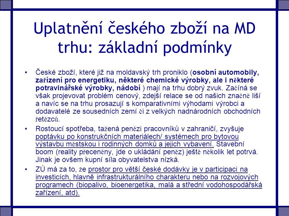 Uplatnění českého zboží na MD trhu: základní podmínky České zboží, které již na moldavský trh proniklo (osobní automobily, za ř ízení pro energetiku, některé chemické výrobky, ale i n ě které potravinářské výrobky, nádobí ) mají na trhu dobrý zvuk.