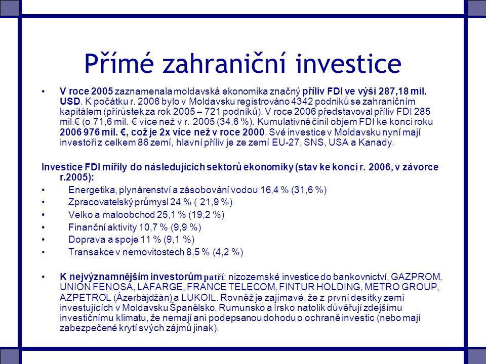 Přímé zahraniční investice V roce 2005 zaznamenala moldavská ekonomika značný příliv FDI ve výši 287,18 mil.