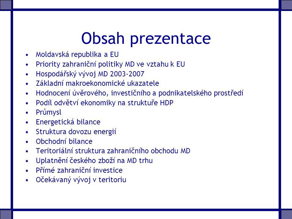 Obsah prezentace Moldavská republika a EU Priority zahraniční politiky MD ve vztahu k EU Hospodářský vývoj MD 2003-2007 Základní makroekonomické ukazatele Hodnocení úvěrového, investičního a podnikatelského prostředí Podíl odvětví ekonomiky na struktuře HDP Průmysl Energetická bilance Struktura dovozu energií Obchodní bilance Teritoriální struktura zahraničního obchodu MD Uplatnění českého zboží na MD trhu Přímé zahraniční investice Očekávaný vývoj v teritoriu