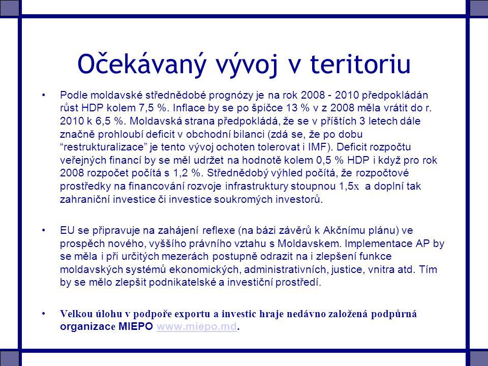 Očekávaný vývoj v teritoriu Podle moldavské střednědobé prognózy je na rok 2008 - 2010 předpokládán růst HDP kolem 7,5 %.