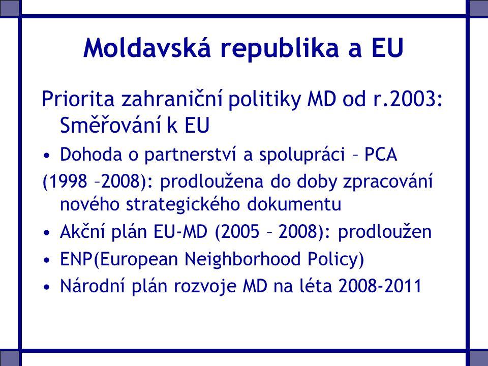 Moldavská republika a EU Priorita zahraniční politiky MD od r.2003: Směřování k EU Dohoda o partnerství a spolupráci – PCA (1998 –2008): prodloužena do doby zpracování nového strategického dokumentu Akční plán EU-MD (2005 – 2008): prodloužen ENP(European Neighborhood Policy) Národní plán rozvoje MD na léta 2008-2011