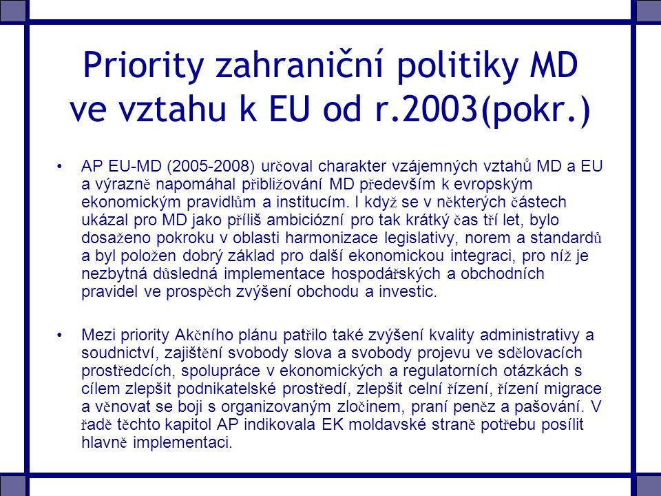 Priority zahraniční politiky MD ve vztahu k EU od r.2003(pokr.) AP EU-MD (2005-2008) ur č oval charakter vzájemných vztahů MD a EU a výrazn ě napomáhal p ř ibli ž ování MD p ř edevším k evropským ekonomickým pravidl ů m a institucím.