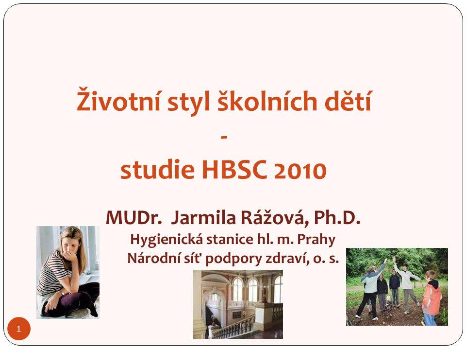 1 Životní styl školních dětí - studie HBSC 2010 MUDr.
