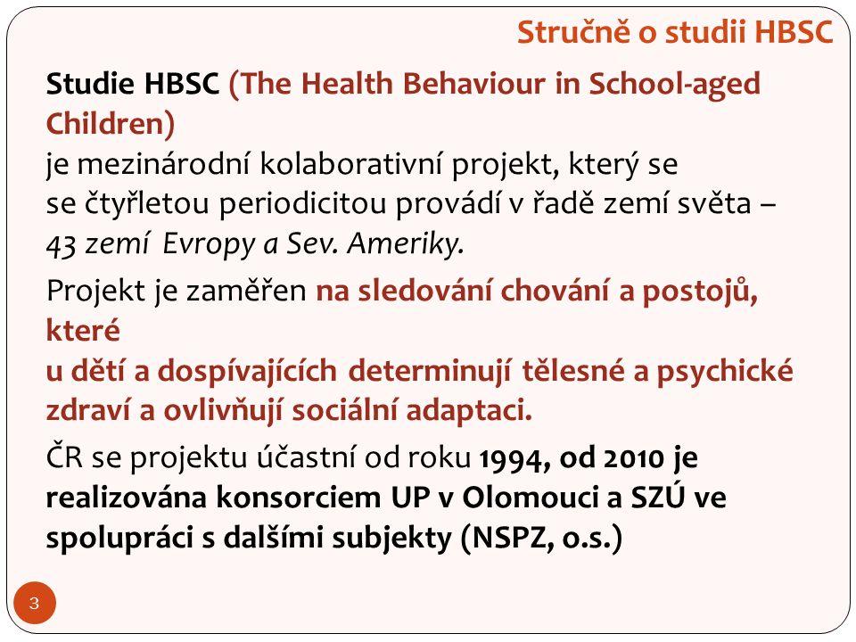 3 Stručně o studii HBSC Studie HBSC (The Health Behaviour in School-aged Children) je mezinárodní kolaborativní projekt, který se se čtyřletou periodicitou provádí v řadě zemí světa – 43 zemí Evropy a Sev.