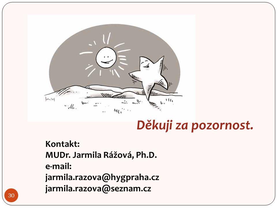 30 Děkuji za pozornost. Kontakt: MUDr. Jarmila Rážová, Ph.D.