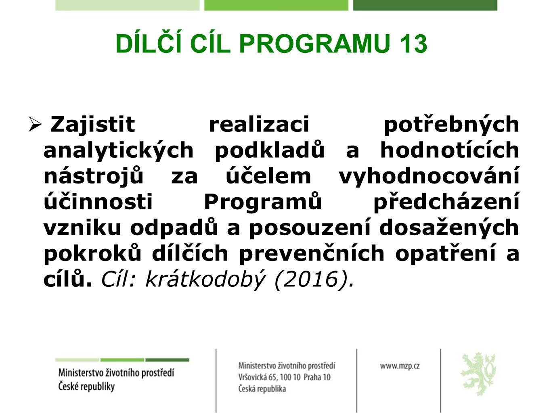 DÍLČÍ CÍL PROGRAMU 13  Zajistit realizaci potřebných analytických podkladů a hodnotících nástrojů za účelem vyhodnocování účinnosti Programů předcházení vzniku odpadů a posouzení dosažených pokroků dílčích prevenčních opatření a cílů.