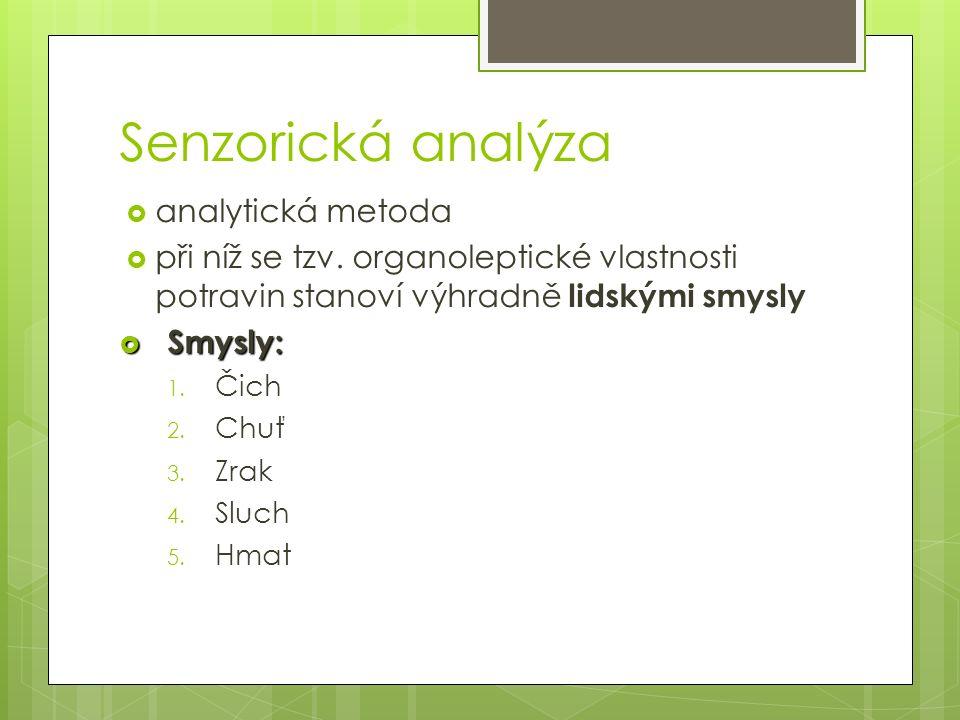 Senzorická analýza  analytická metoda  při níž se tzv.