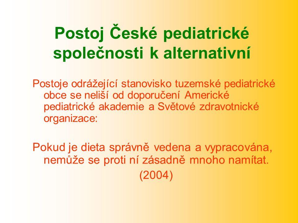 Postoj České pediatrické společnosti k alternativní Postoje odrážející stanovisko tuzemské pediatrické obce se neliší od doporučení Americké pediatrické akademie a Světové zdravotnické organizace: Pokud je dieta správně vedena a vypracována, nemůže se proti ní zásadně mnoho namítat.