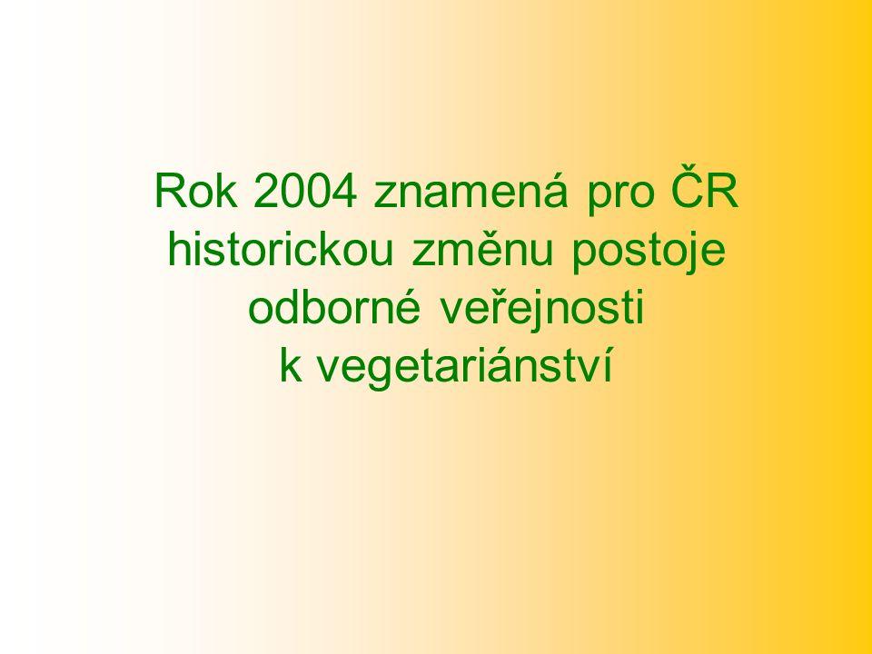 Rok 2004 znamená pro ČR historickou změnu postoje odborné veřejnosti k vegetariánství