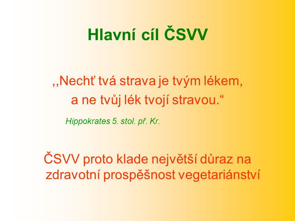 """Hlavní cíl ČSVV,,Nechť tvá strava je tvým lékem, a ne tvůj lék tvojí stravou."""" Hippokrates 5. stol. př. Kr. ČSVV proto klade největší důraz na zdravot"""