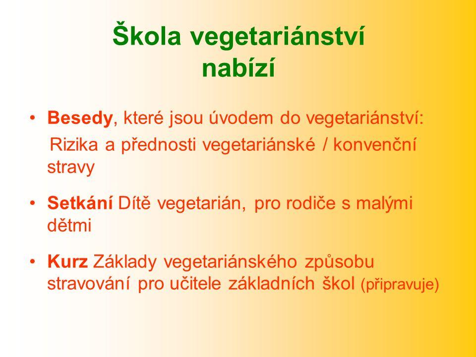 Škola vegetariánství nabízí Besedy, které jsou úvodem do vegetariánství: Rizika a přednosti vegetariánské / konvenční stravy Setkání Dítě vegetarián, pro rodiče s malými dětmi Kurz Základy vegetariánského způsobu stravování pro učitele základních škol (připravuje)