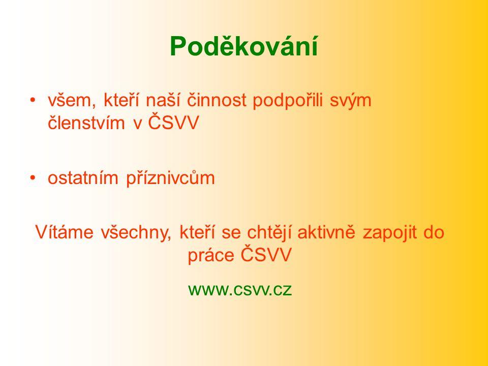 Poděkování všem, kteří naší činnost podpořili svým členstvím v ČSVV ostatním příznivcům Vítáme všechny, kteří se chtějí aktivně zapojit do práce ČSVV www.csvv.cz