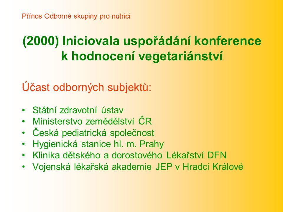 (2000) Iniciovala uspořádání konference k hodnocení vegetariánství Účast odborných subjektů: Státní zdravotní ústav Ministerstvo zemědělství ČR Česká pediatrická společnost Hygienická stanice hl.