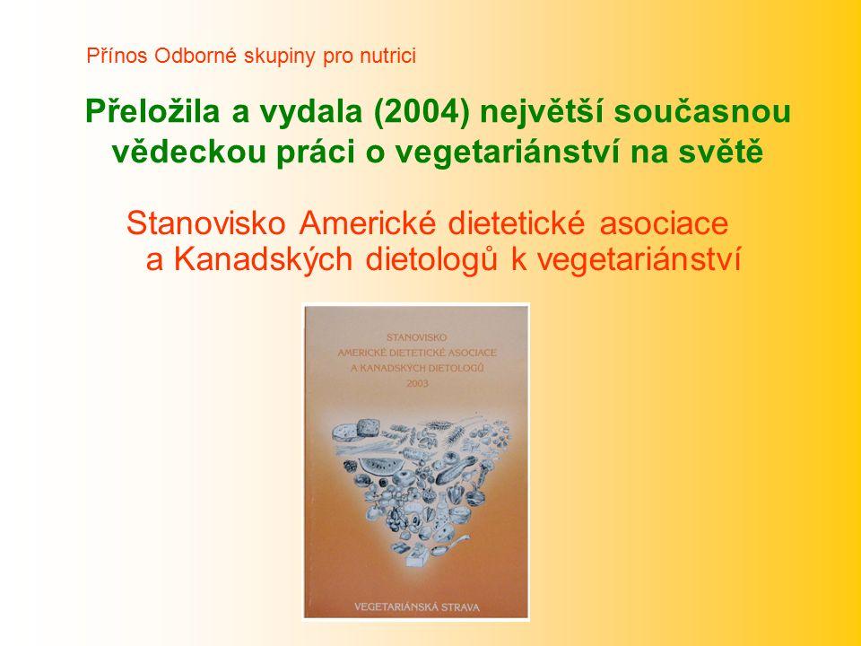 Přeložila a vydala (2004) největší současnou vědeckou práci o vegetariánství na světě Stanovisko Americké dietetické asociace a Kanadských dietologů k