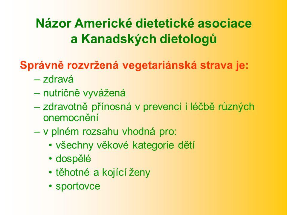 Názor Americké dietetické asociace a Kanadských dietologů Správně rozvržená vegetariánská strava je: –zdravá –nutričně vyvážená –zdravotně přínosná v