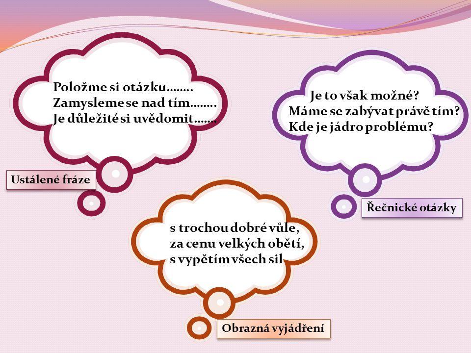 Činnostní učení Úvaha Vyberte si některé české přísloví a zpracujte na ně úvahu.