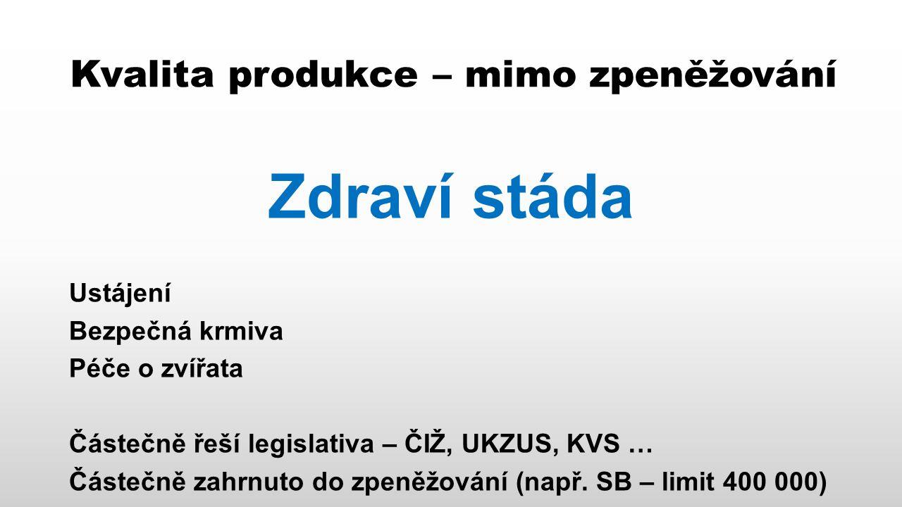 """Kvalita produkce – příležitost pro prvovýrobce Zlepšení pozice na (českém) trhu Kvalita produkce, která není obsažena ve zpeněžování pravděpodobně není v investičně vyhodnotitelném horizontu zajímavá pro zpracovatele (příklad SB) Pokud tato kvalita není zajímavá pro zpracovatele, není z přímého ekonomického pohledu zajímavá ani pro prvovýrobce Tato kvalita ale může být (a ukazuje se se, že začíná být) velmi zajímavá pro konečného spotřebitele – roste zájem o """"zdravější potraviny"""