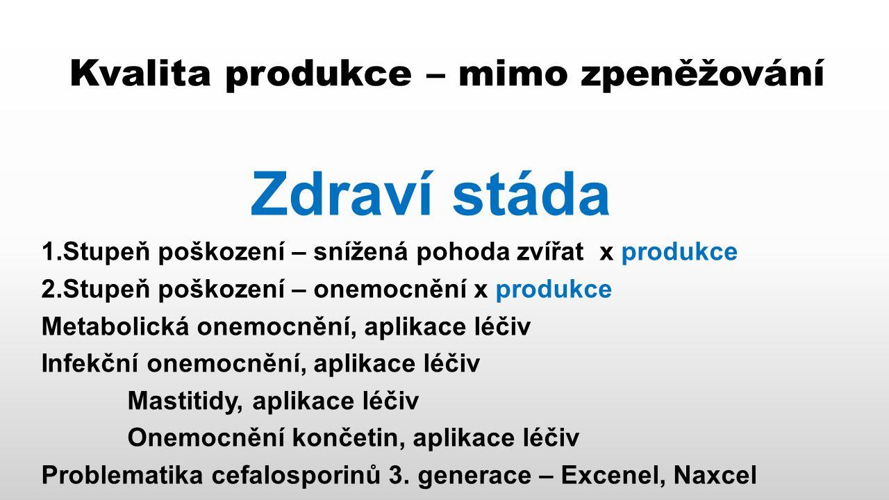 Kvalita produkce – mimo zpeněžování Zdraví stáda 1.Stupeň poškození – snížená pohoda zvířat x produkce 2.Stupeň poškození – onemocnění x produkce Metabolická onemocnění, aplikace léčiv Infekční onemocnění, aplikace léčiv Mastitidy, aplikace léčiv Onemocnění končetin, aplikace léčiv Problematika cefalosporinů 3.