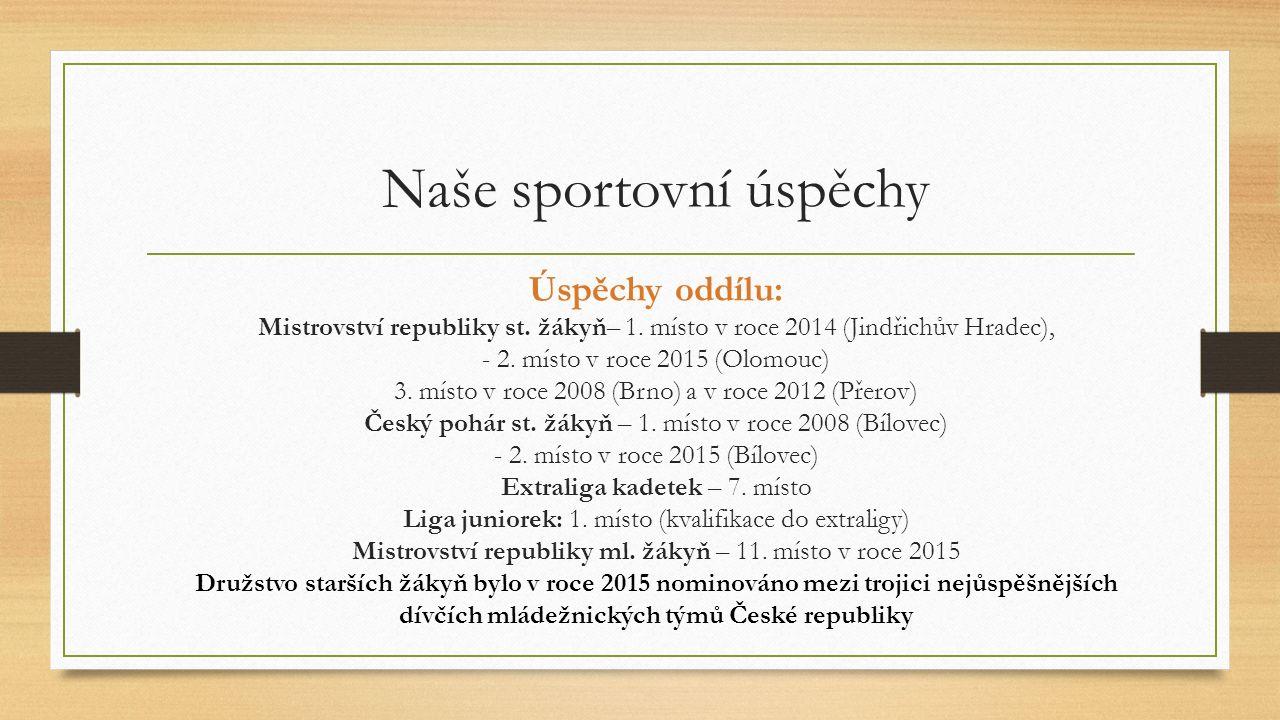 Úspěchy oddílu: Mistrovství republiky st. žákyň– 1.