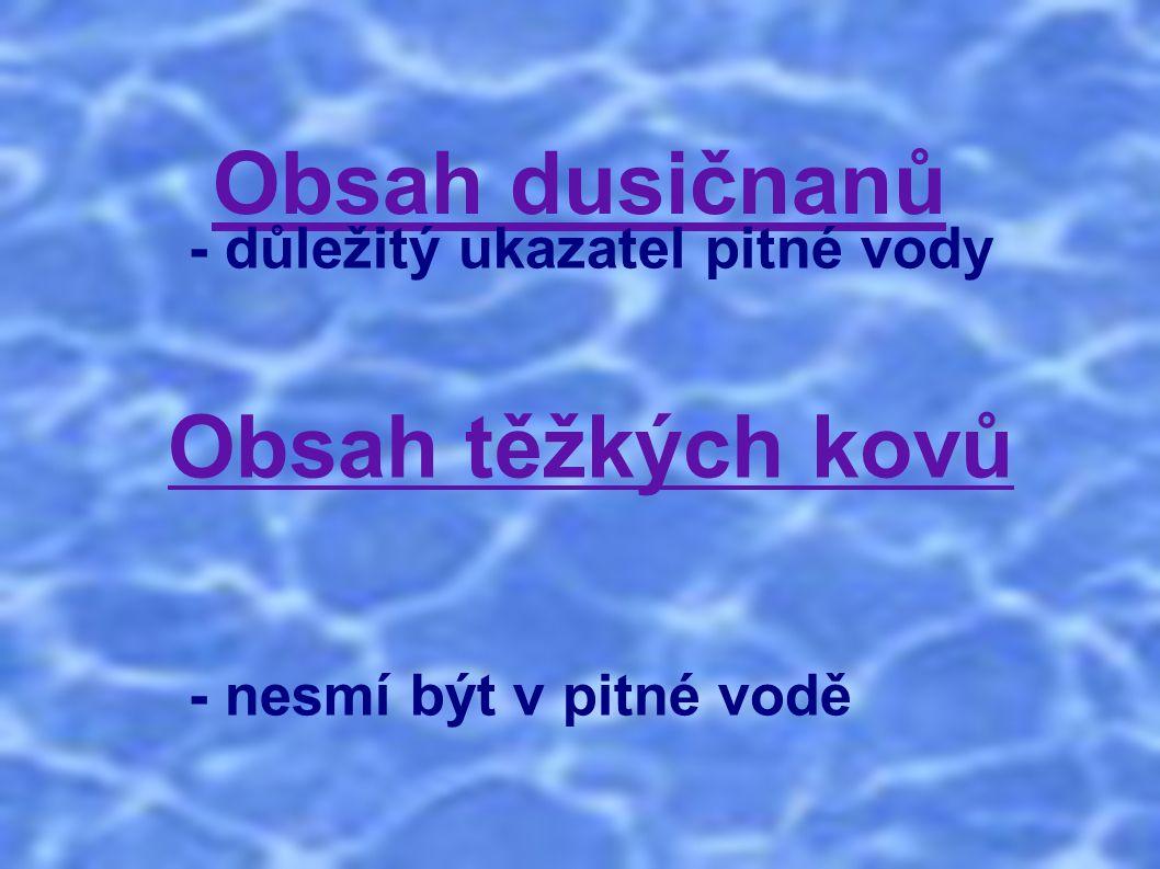 Obsah dusičnanů - důležitý ukazatel pitné vody Obsah těžkých kovů - nesmí být v pitné vodě