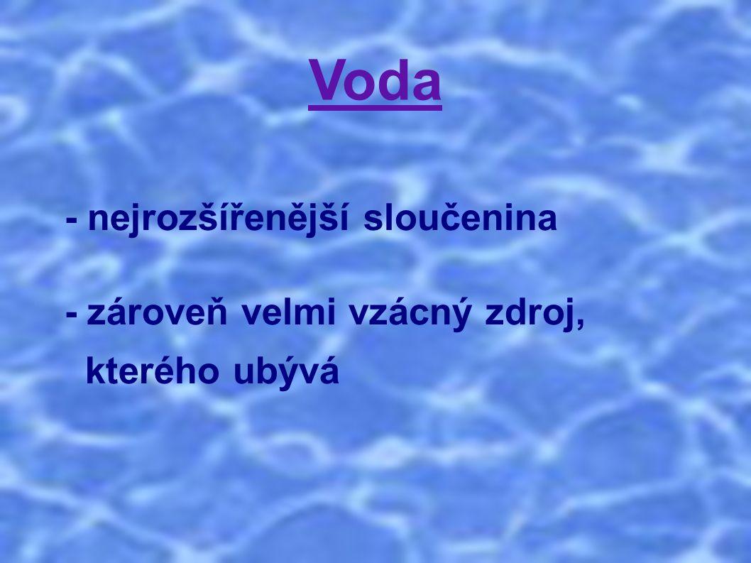 Voda - využívá se k přípravě potravin, nápojů, k hygieně, k zavlažování, k chovu ryb atd.