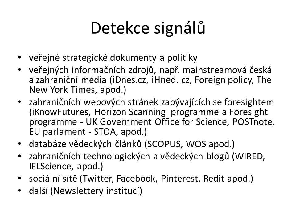 Detekce signálů veřejné strategické dokumenty a politiky veřejných informačních zdrojů, např.