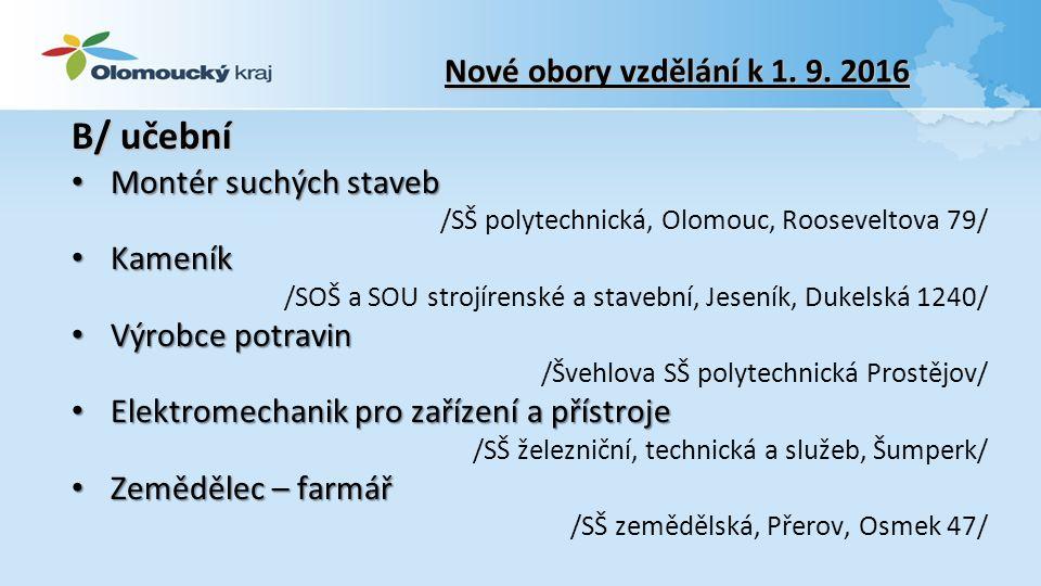 Nové obory vzdělání k 1. 9.