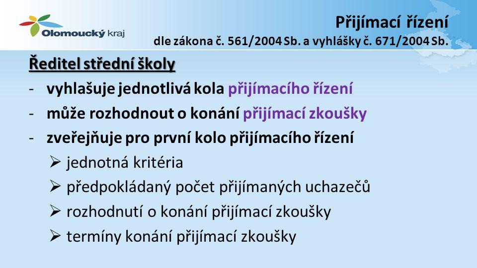 Přijímací řízení dle zákona č. 561/2004 Sb. a vyhlášky č.