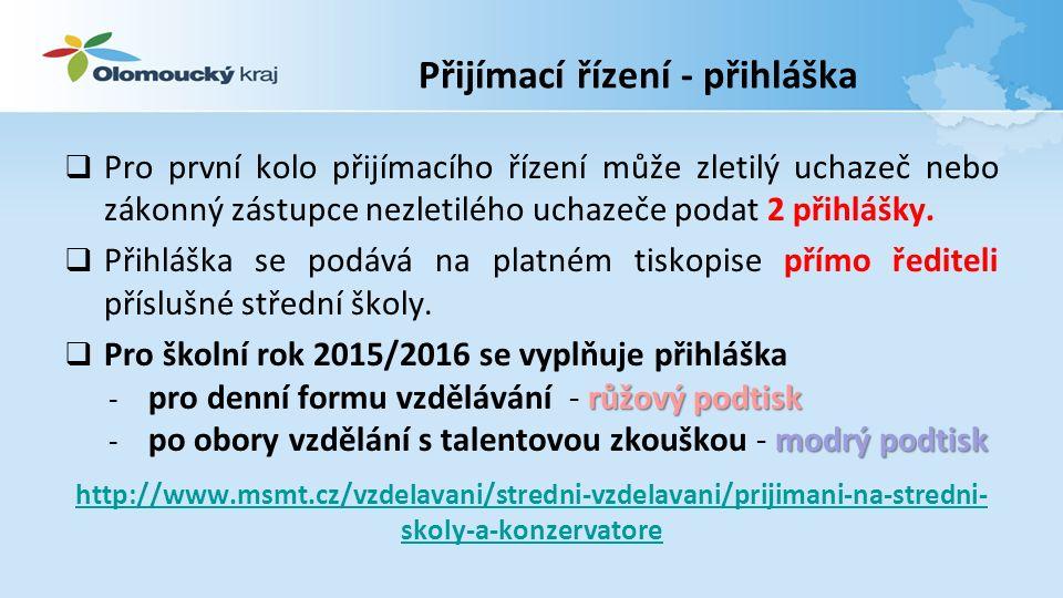 Přijímací řízení – odvolání Odvolání se podává písemně prostřednictvím ředitele střední školy ke Krajskému úřadu Olomouckého kraje, odboru školství, mládeže a tělovýchovy.