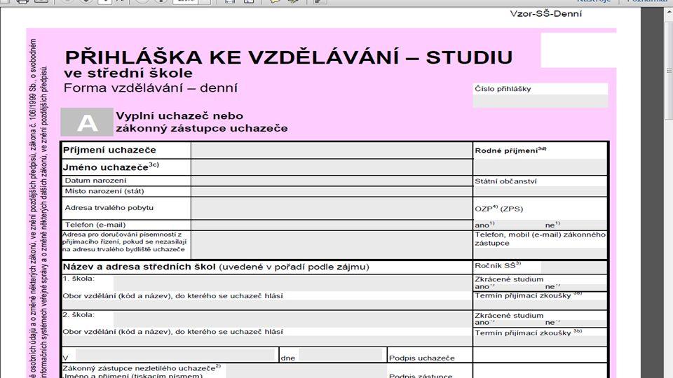 Přijímací řízení - přihláška