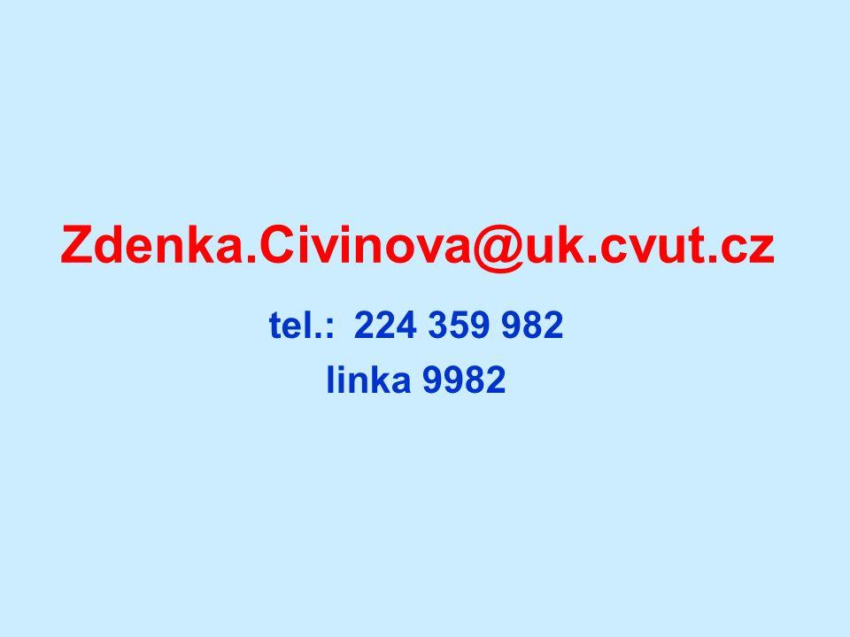 DĚKUJI ZA POZORNOST! Zdenka.Civinova@uk.cvut.cz tel.: 224 359 982 linka 9982