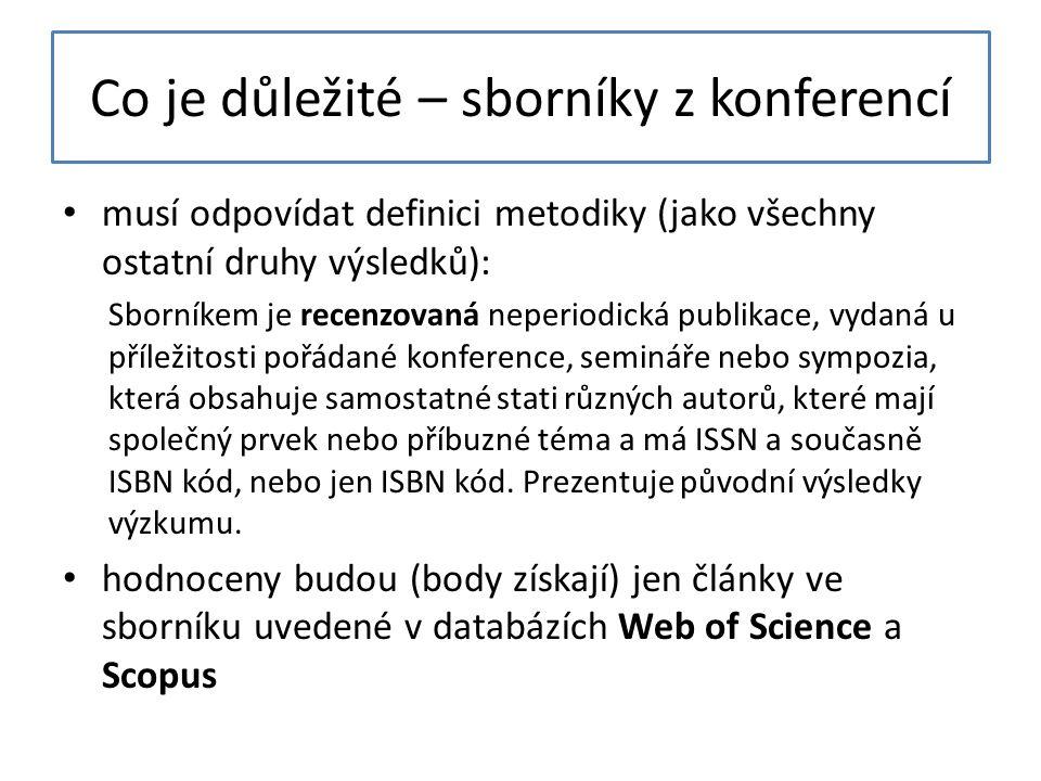 Co je důležité – sborníky z konferencí musí odpovídat definici metodiky (jako všechny ostatní druhy výsledků): Sborníkem je recenzovaná neperiodická publikace, vydaná u příležitosti pořádané konference, semináře nebo sympozia, která obsahuje samostatné stati různých autorů, které mají společný prvek nebo příbuzné téma a má ISSN a současně ISBN kód, nebo jen ISBN kód.