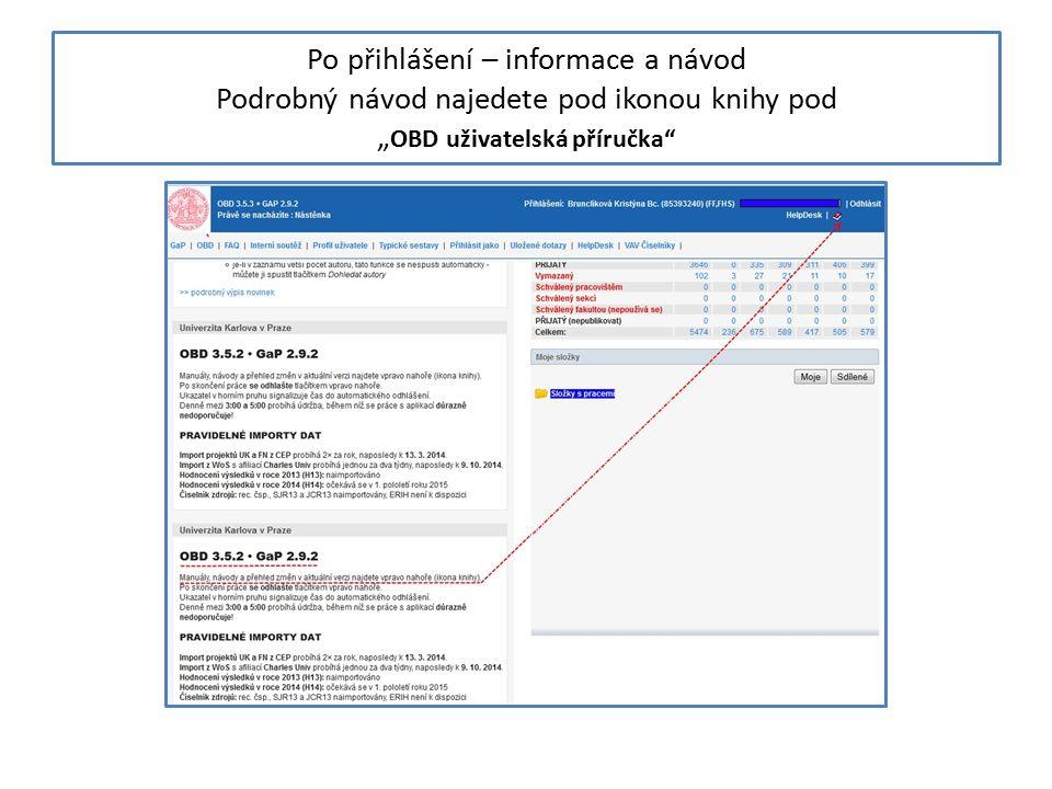 """Po přihlášení – informace a návod Podrobný návod najedete pod ikonou knihy pod """" OBD uživatelská příručka"""