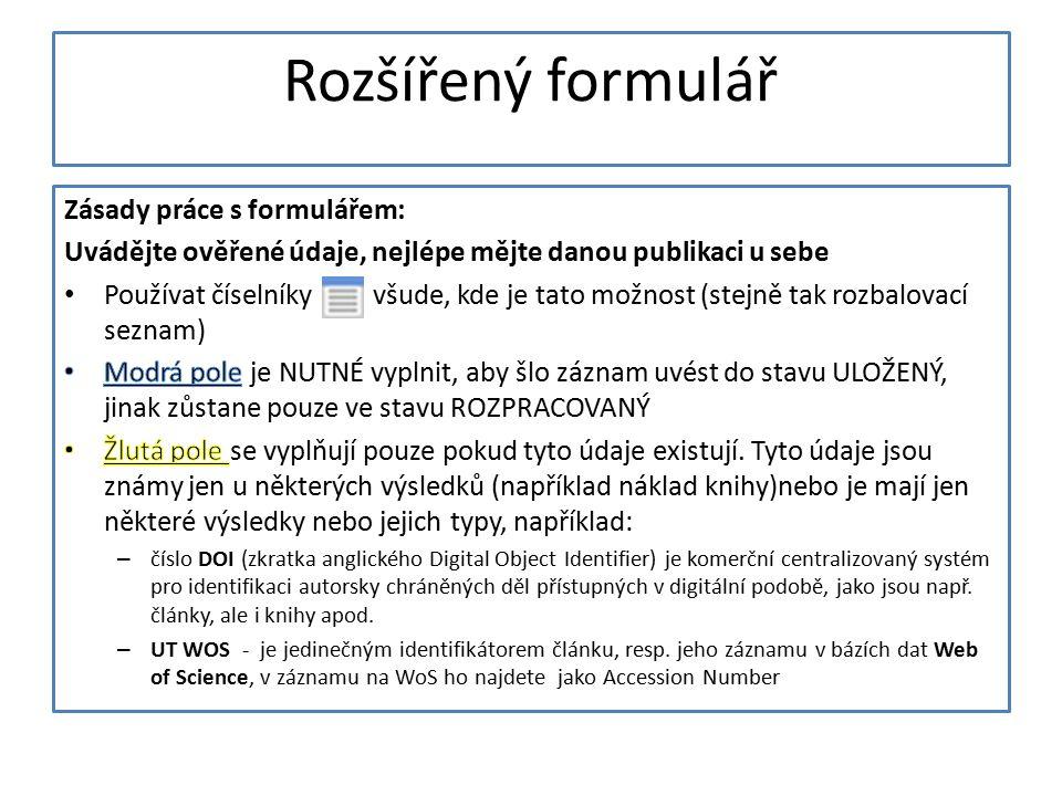 Rozšířený formulář
