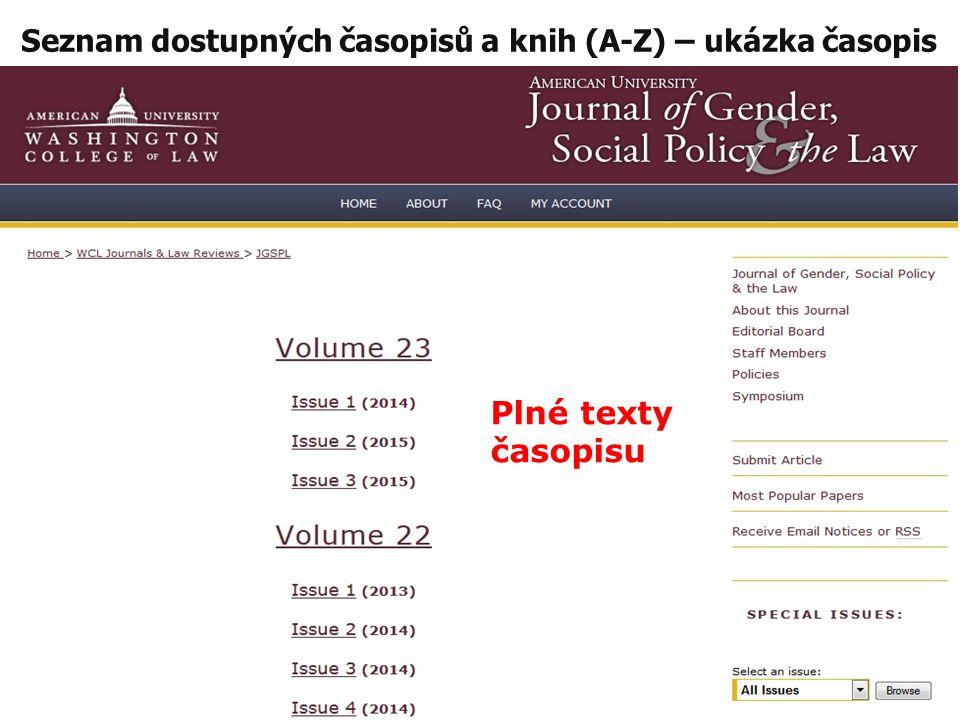 Seznam dostupných časopisů a knih (A-Z) – ukázka časopis Plné texty časopisu