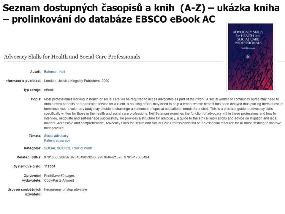 Seznam dostupných časopisů a knih (A-Z) – ukázka kniha – prolinkování do databáze EBSCO eBook AC