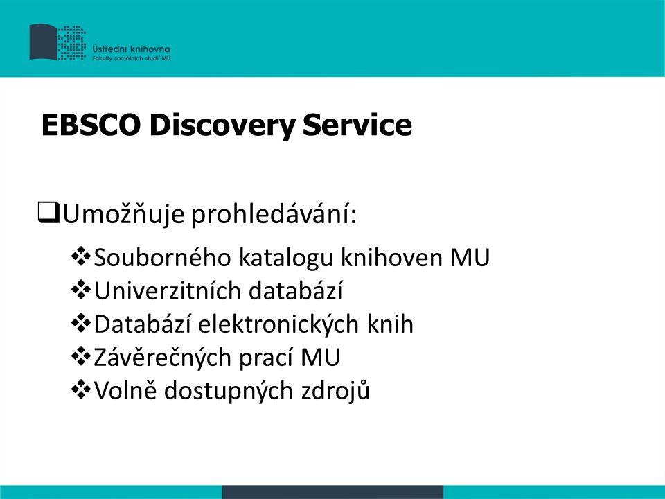  Umožňuje prohledávání:  Souborného katalogu knihoven MU  Univerzitních databází  Databází elektronických knih  Závěrečných prací MU  Volně dost
