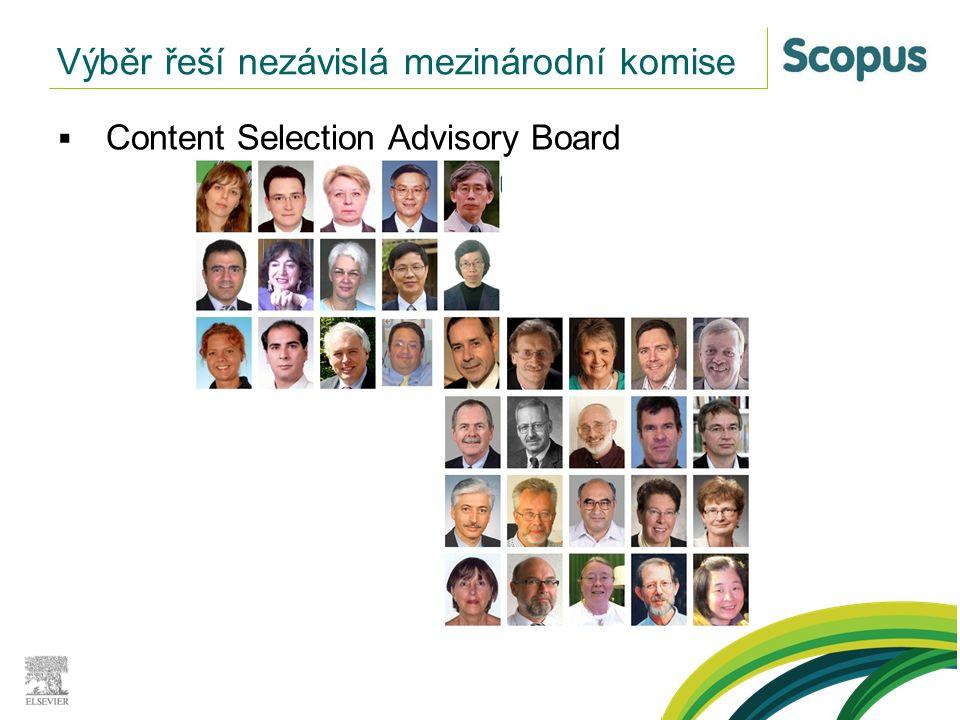  Content Selection Advisory Board Výběr řeší nezávislá mezinárodní komise