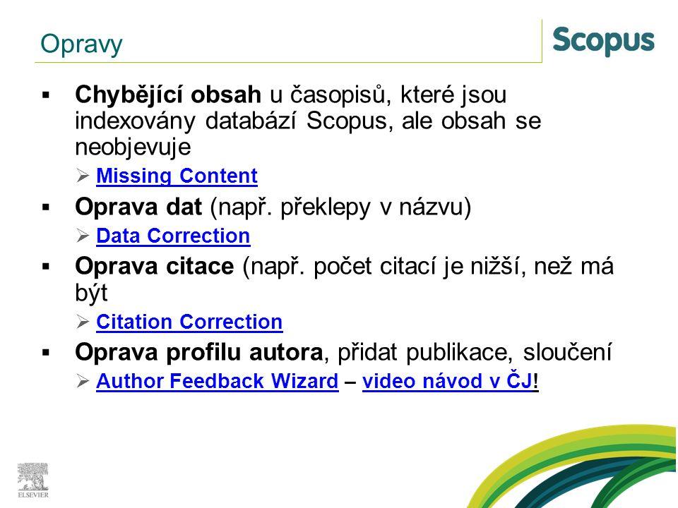  Chybějící obsah u časopisů, které jsou indexovány databází Scopus, ale obsah se neobjevuje  Missing Content Missing Content  Oprava dat (např. pře