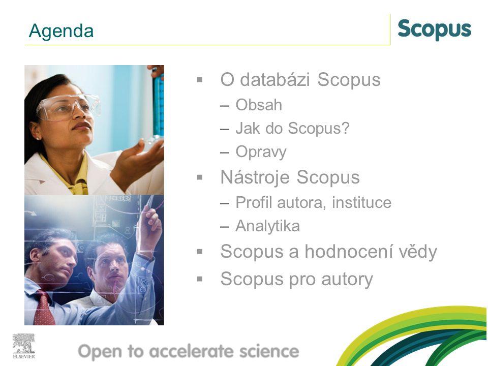  O databázi Scopus –Obsah –Jak do Scopus? –Opravy  Nástroje Scopus –Profil autora, instituce –Analytika  Scopus a hodnocení vědy  Scopus pro autor