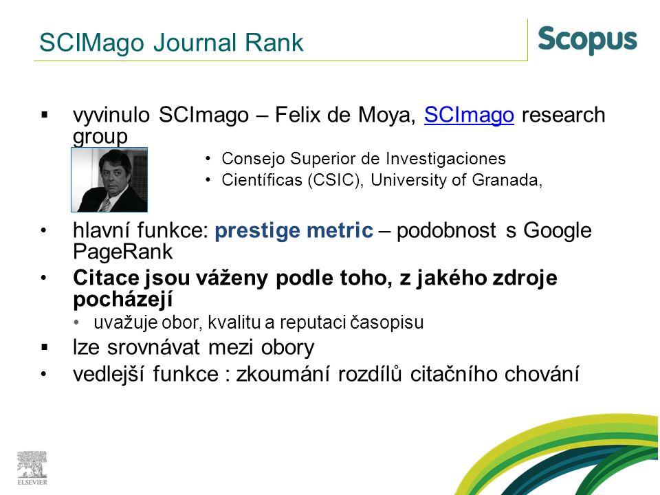 SCIMago Journal Rank  vyvinulo SCImago – Felix de Moya, SCImago research groupSCImago Consejo Superior de Investigaciones Científicas (CSIC), Univers
