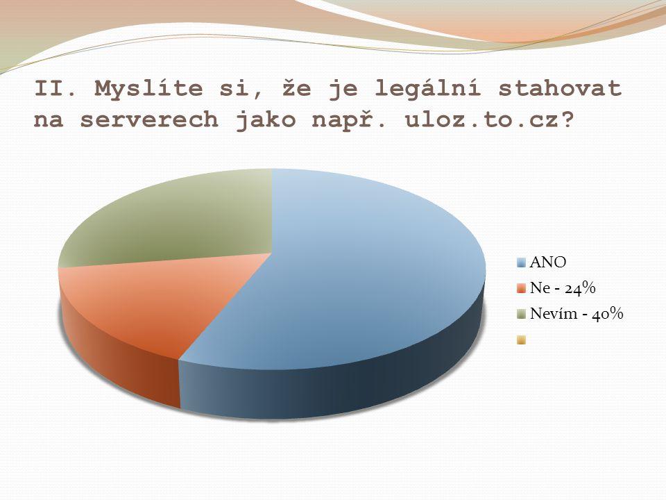 II. Myslíte si, že je legální stahovat na serverech jako např. uloz.to.cz?