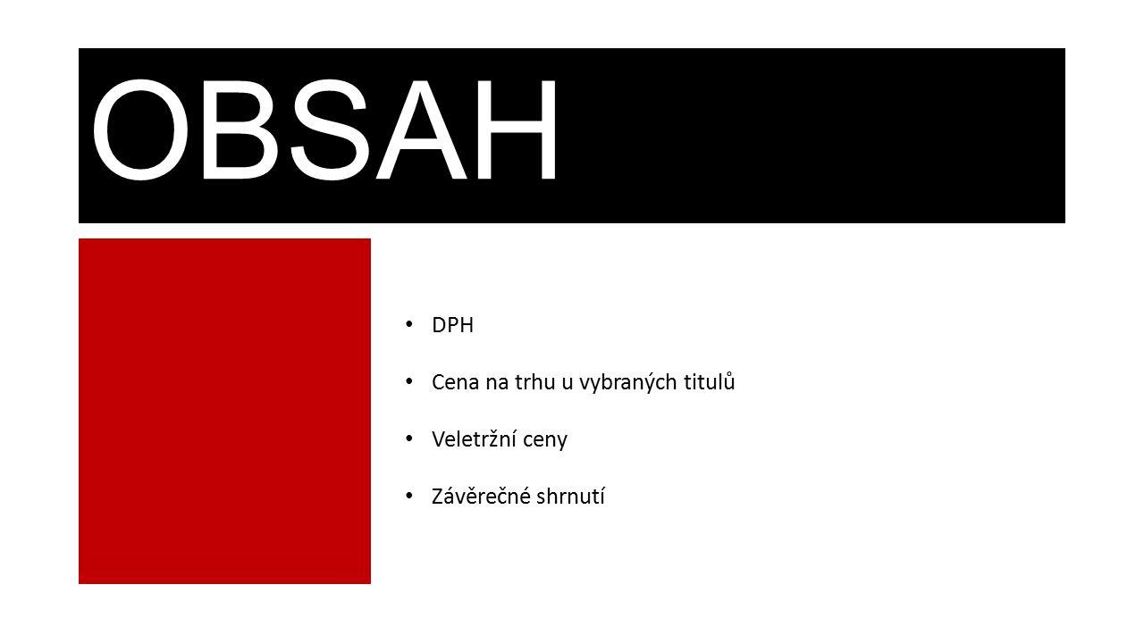 OBSAH DPH Cena na trhu u vybraných titulů Veletržní ceny Závěrečné shrnutí