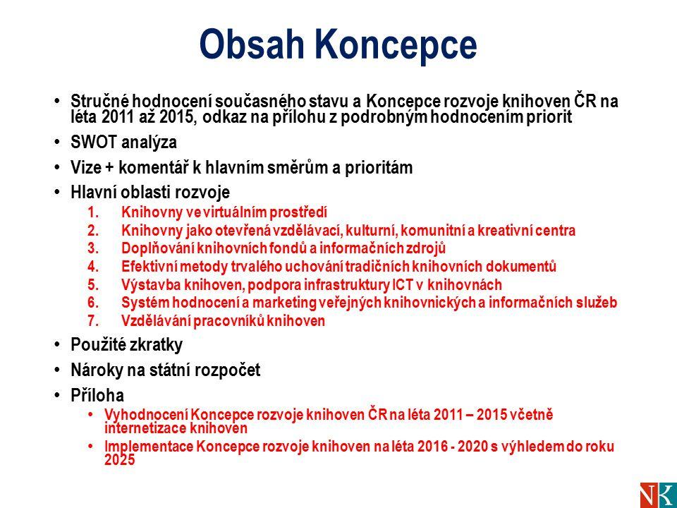 Obsah Koncepce Stručné hodnocení současného stavu a Koncepce rozvoje knihoven ČR na léta 2011 až 2015, odkaz na přílohu z podrobným hodnocením priorit